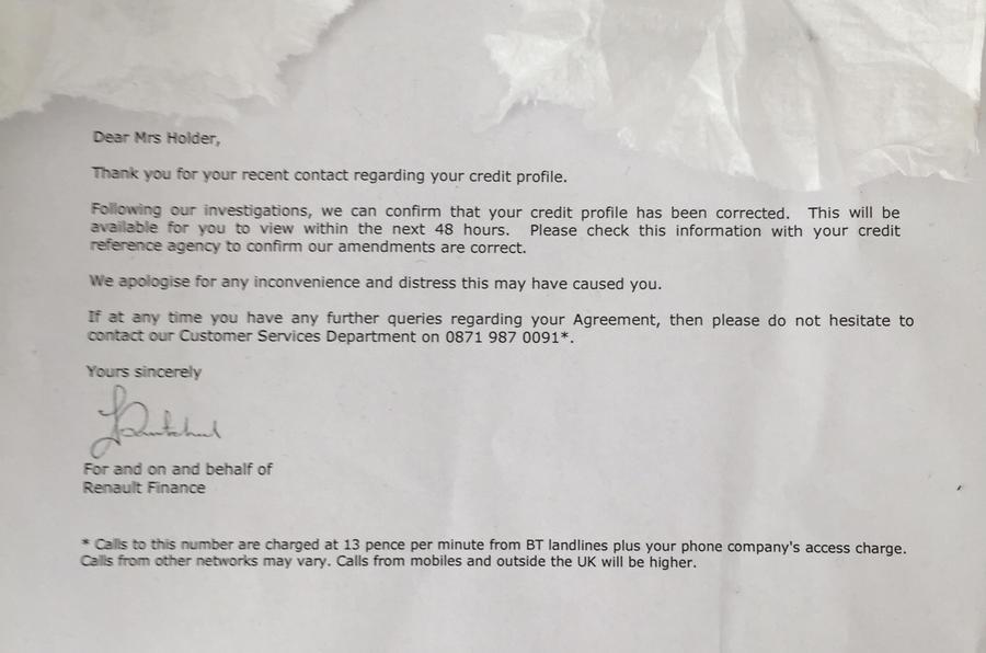 Renault Zoe finance letter