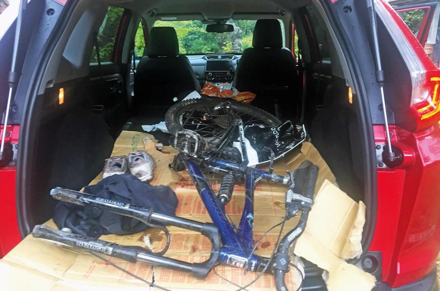 Honda CR-V hybrid 2019 long-term review - bike in boot