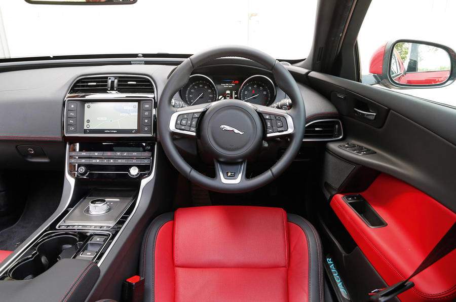 Inside the Jaguar XE's cabin