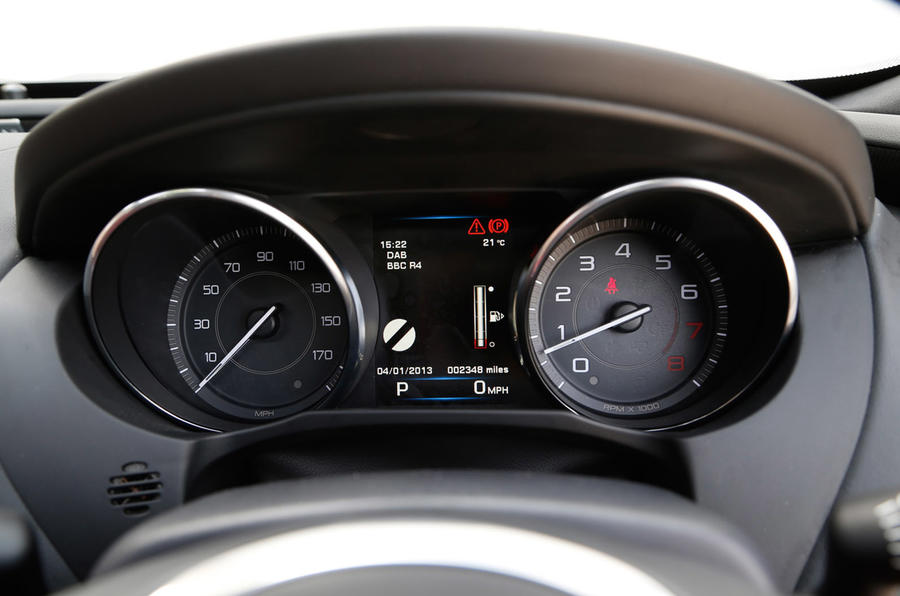 A close-up of the Jaguar XE instrument panel