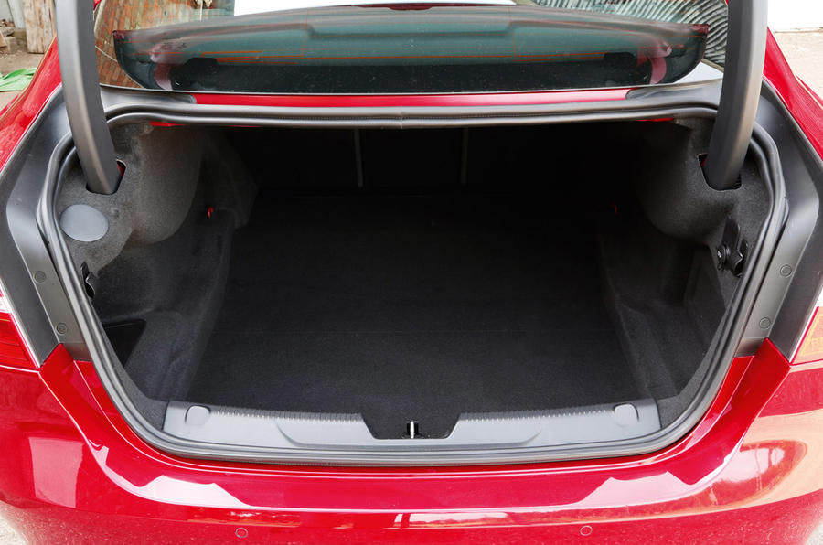 A look into the narrow boot entry of the Jaguar XE