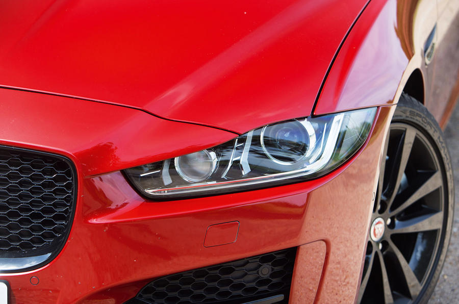 The J-blade LED day running lights on the Jaguar XE