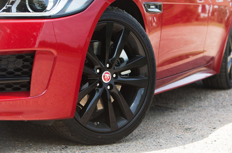Jaguar XE comes with 17in alloys, with the R-Sport fitted with 18s
