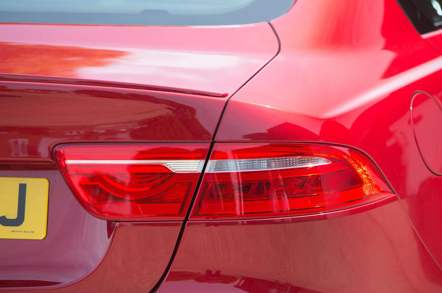 The Jaguar XE R-Sport's bootlid spoiler gives sporty appeal