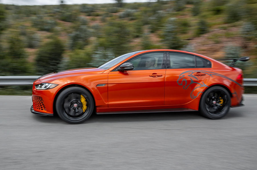 Jaguar XE SV Project 8 2018 road test review on the road left