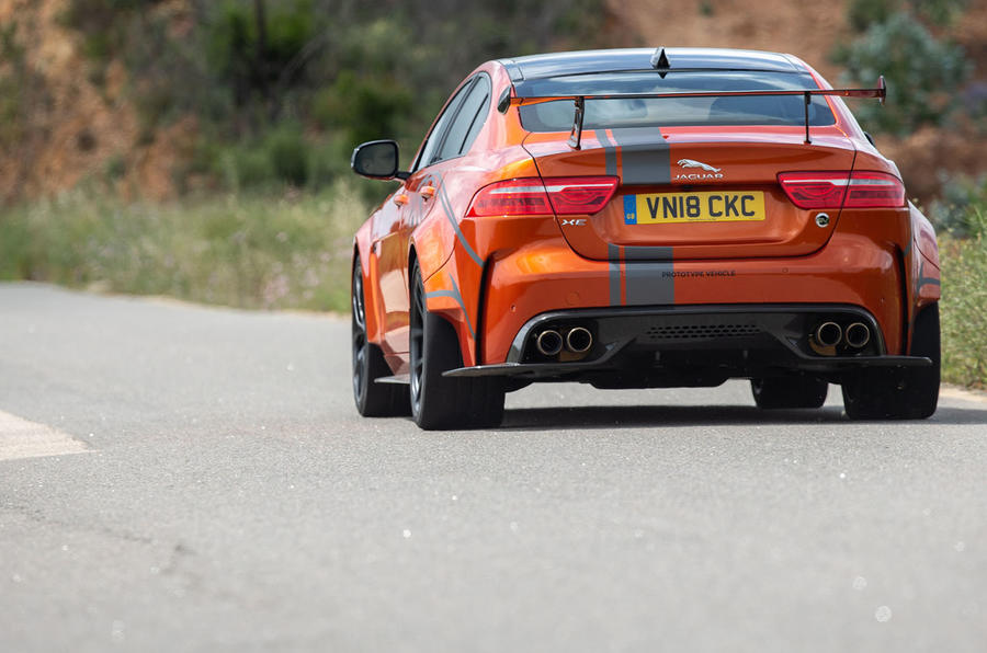 Jaguar XE SV Project 8 2018 road test review rear end