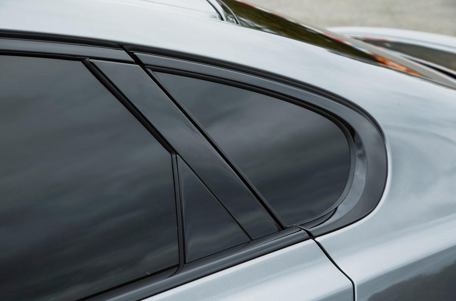 Gloss black surrounds are indicators of the R-Sport trim on the Jaguar XF