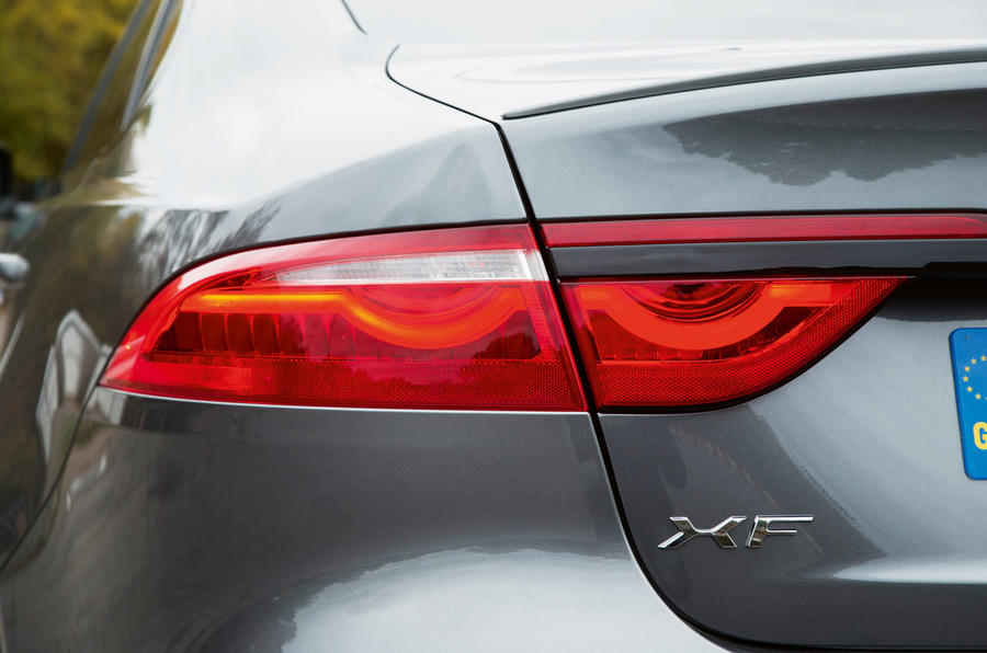Jaguar XF rear-lights have the same design signature as the XE