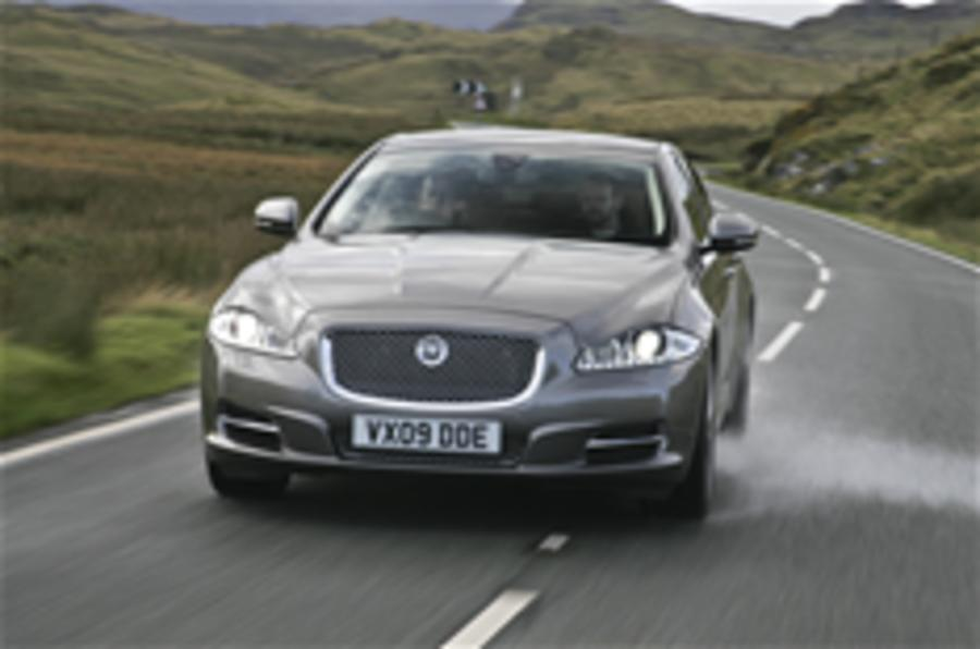 On road in the Jaguar XJ