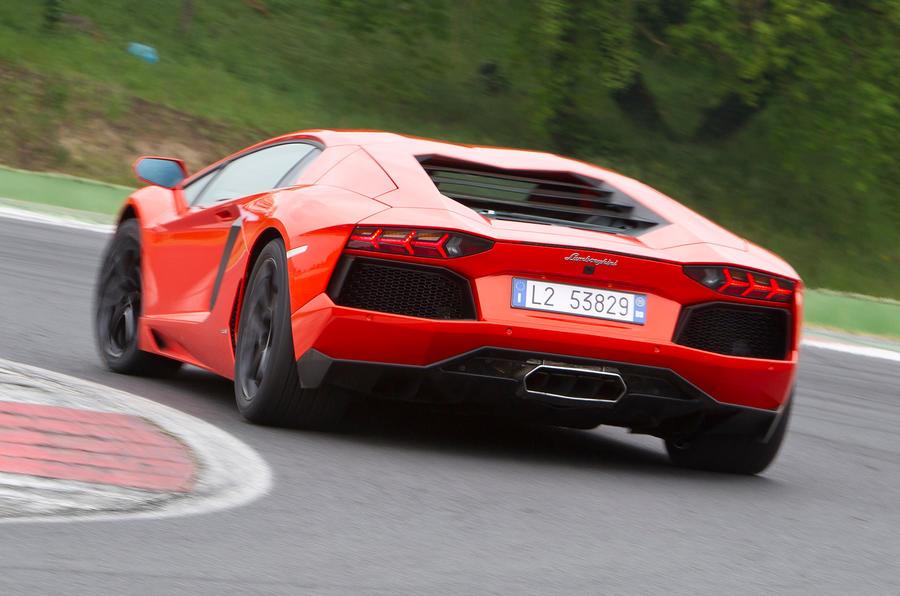 Lamborghini Aventador rear hard cornering