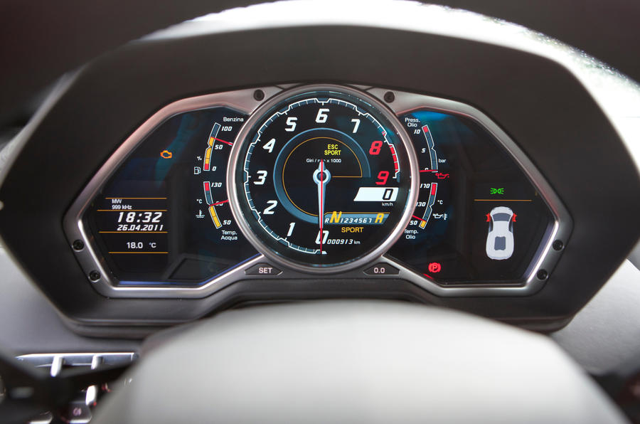 Lamborghini Aventador digital instrument cluster