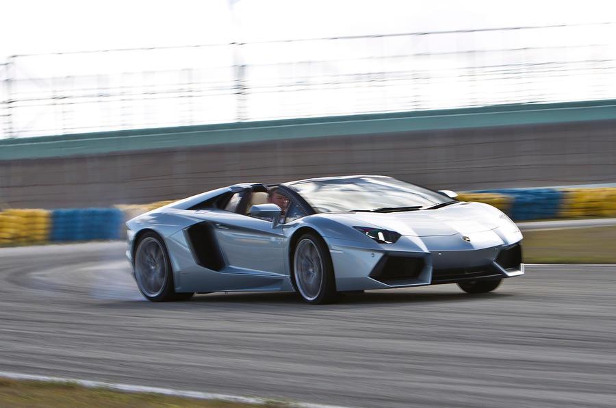 Lamborghini Aventador Roadster drifting