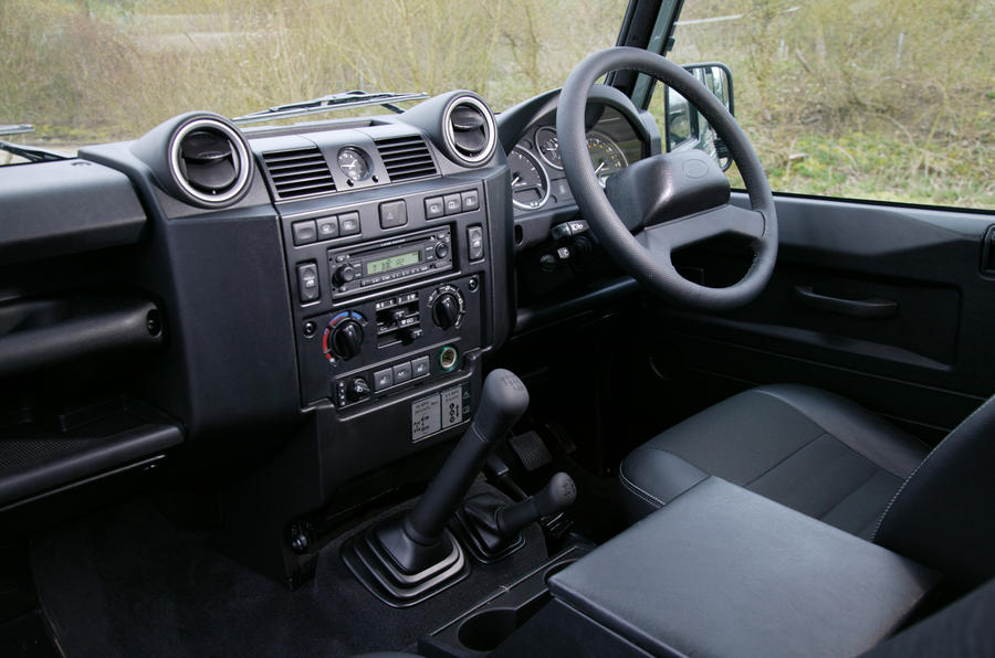 The interior of the Land Rover Defender