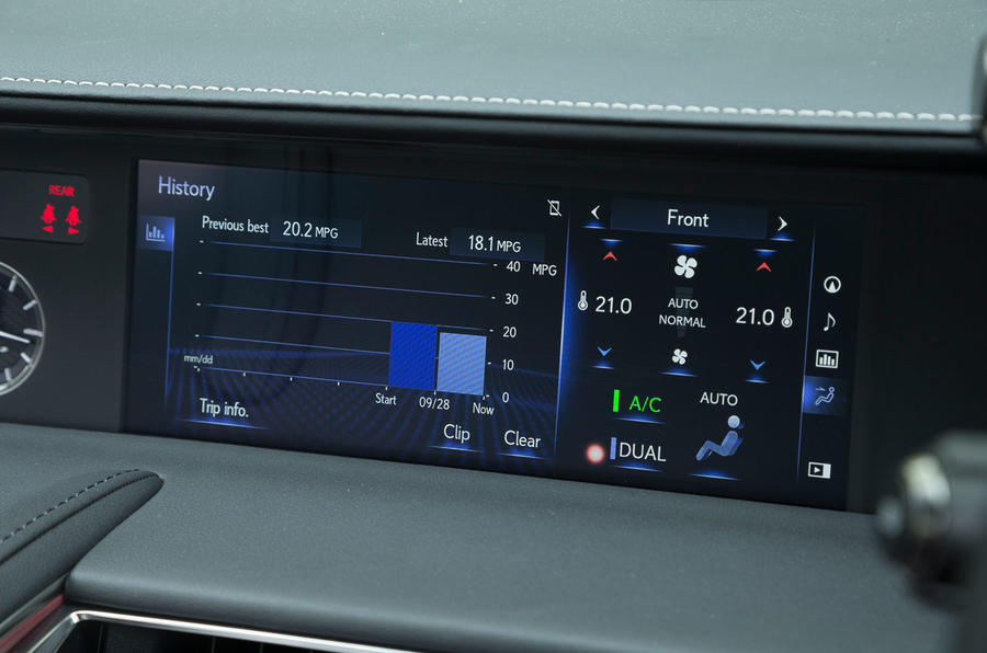 Lexus LC500 climate control screen