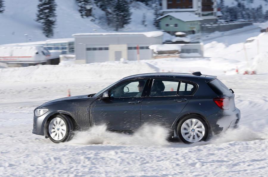 BMW M135i xDrive drifting on snow