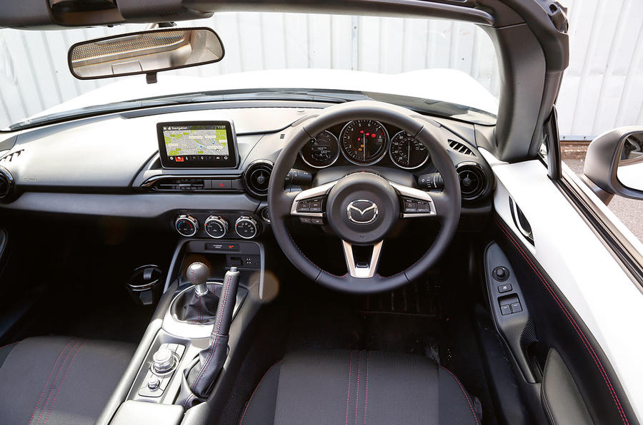 The view from the driver's seat in the Mazda MX-5