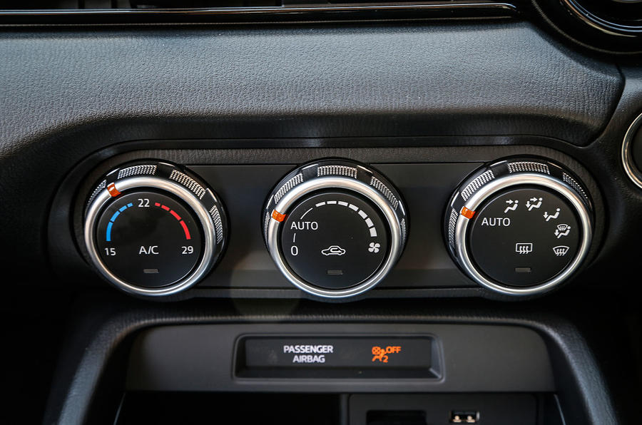 The climate control switchgear in the Mazda MX-5