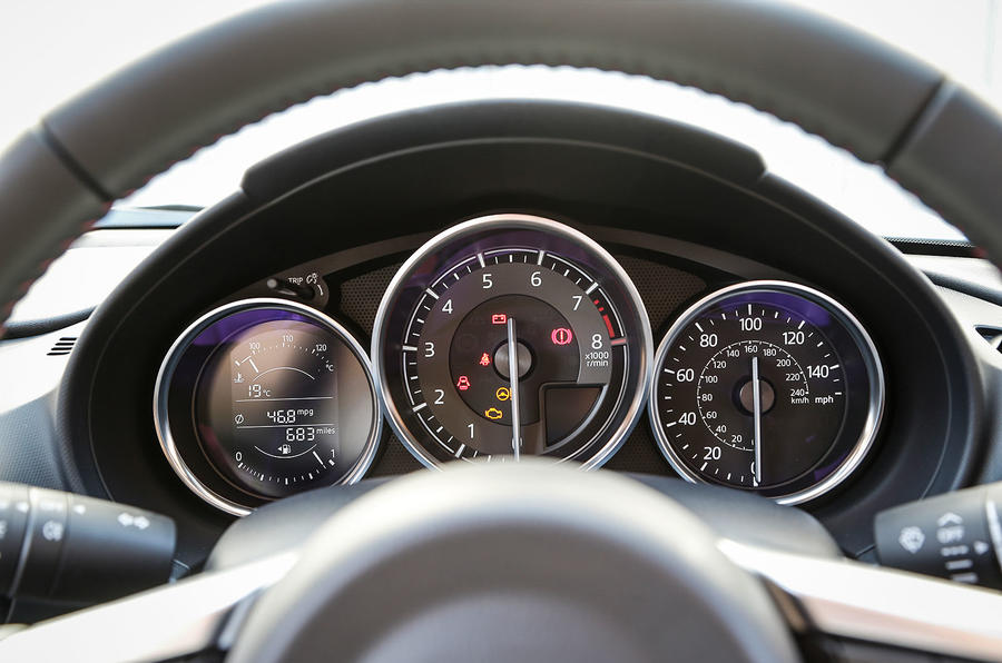 The instrument binnacle in the Mazda MX-5