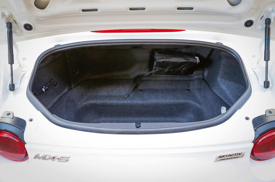 The deep, if awkward, opening to the Mazda MX-5's boot