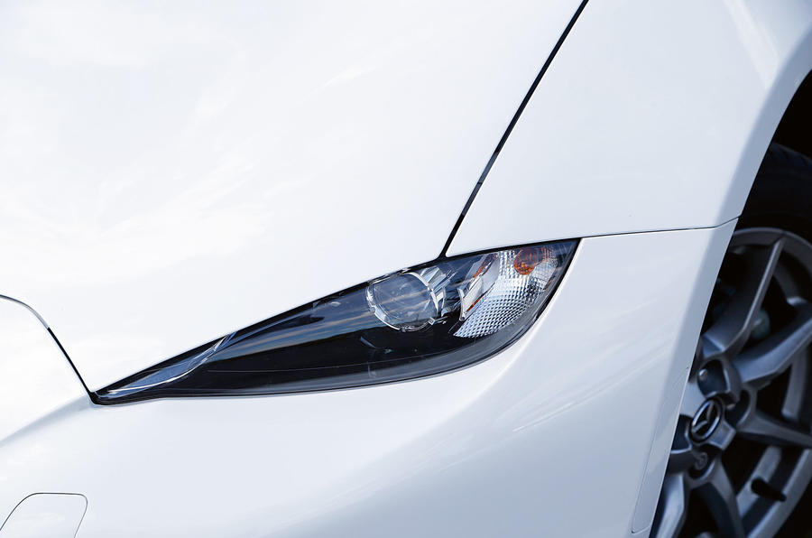 The Mazda MX-5's tapered headlights come with LEDs all-around