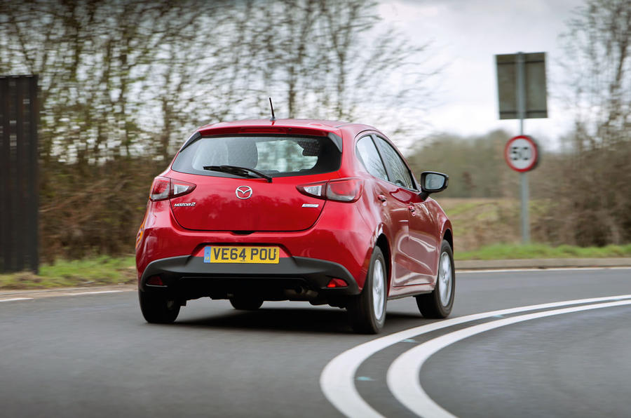 At B-roads speeds, the Mazda 2's suspension hits the sweetest of strides, allowing the body to stay flat