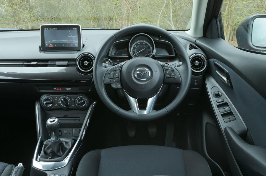 The view from the driver's seat in the Mazda 2