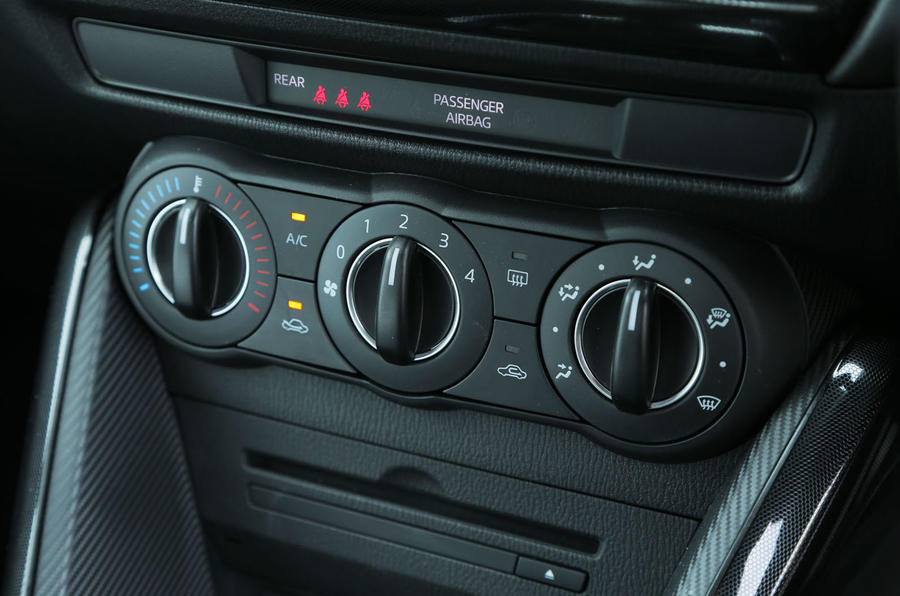 The ventilation switchgear in the Mazda 2