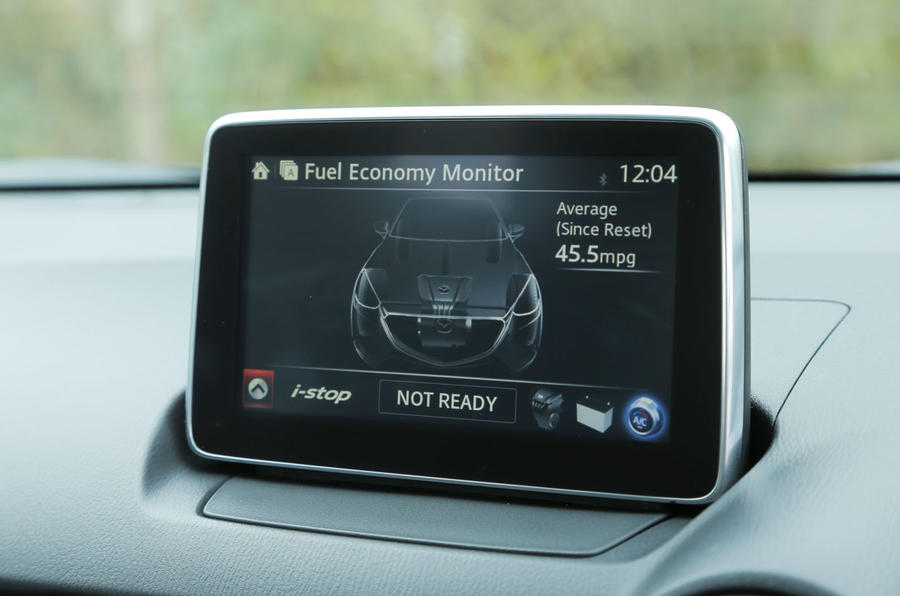 The 7.0in infotainment screen comes as standard on the Mazda 2