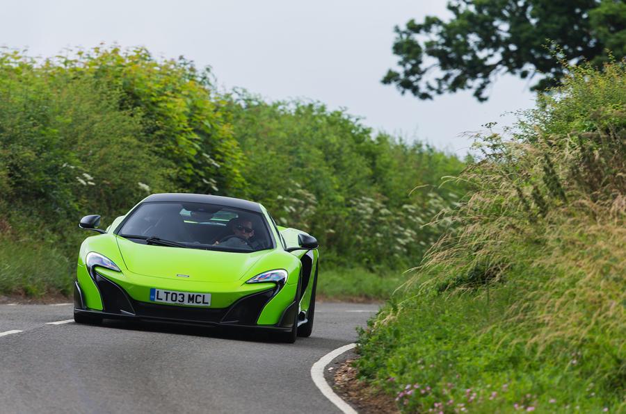 McLaren 675 LT on road cornering