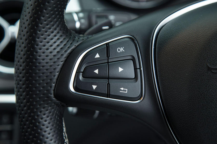 Some of the controls available on the CLA's steering wheel