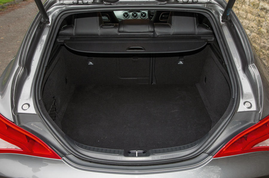 The accessible and powered tailgate opening to the CLA Shooting Brake's boot