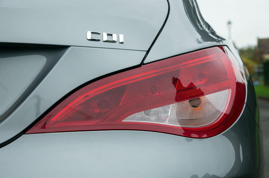 The Mercedes-Benz CLA Shooting Brake shoulder line dictates the shape of the rear light cluster