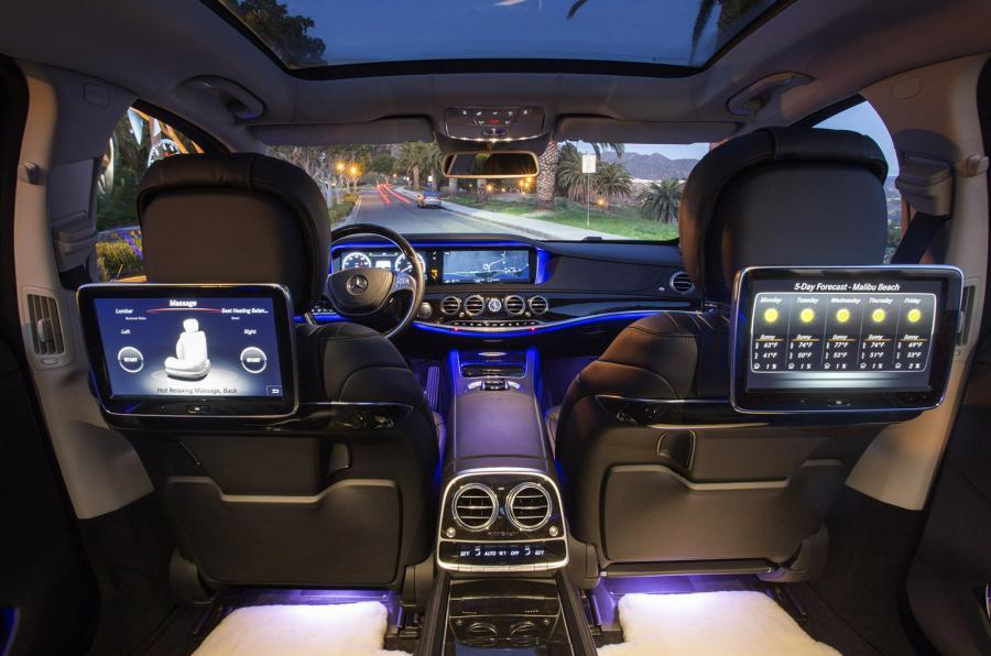 Mercedes Maybach S600 stylish and luxurious interiors with personal screens and blue lighting