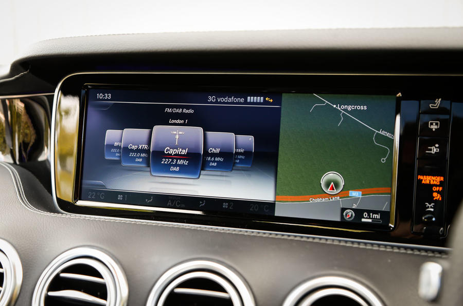The infotainment system in the Mercedes-AMG S 63 Coupé