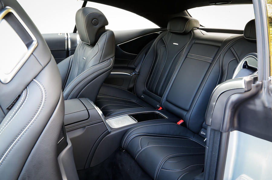 The rear seats in the Mercedes-AMG S 63 Coupé