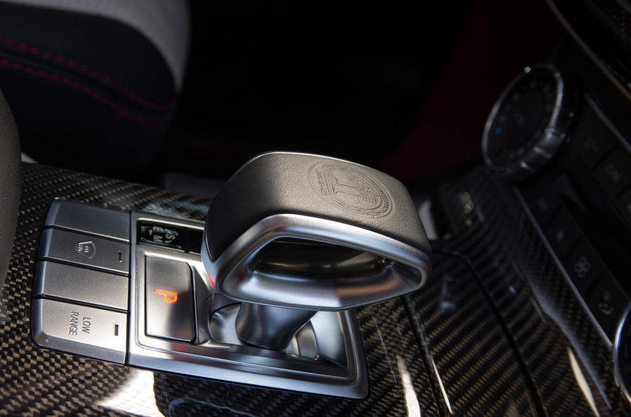 The automatic transmission lever in the Mercedes-AMG G 63 6x6