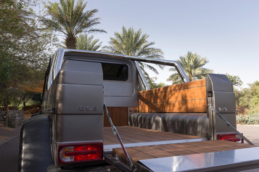 The tailgate on the Mercedes-AMG G 63 6x6 creates a flat rear deck