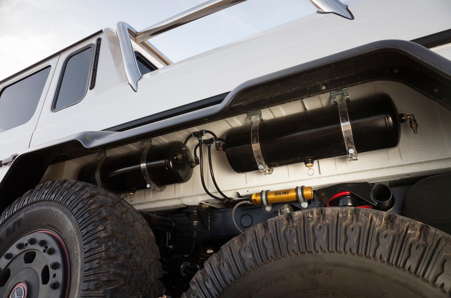 The rear arches house the tyre inflation system compressor tanks on the Mercedes-AMG G 63 6x6