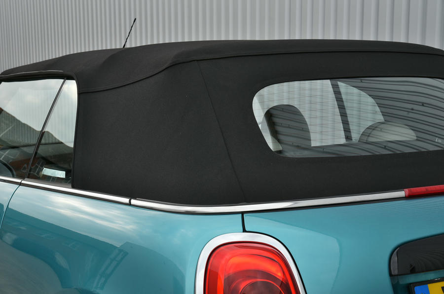 Mini Convertible roof from the rear
