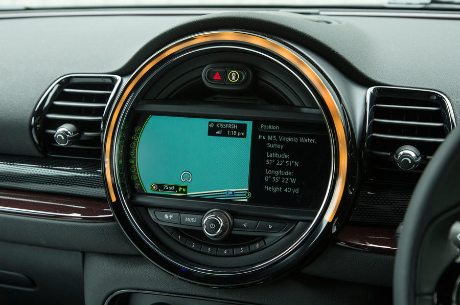 The infotainment system is housed in the Clubman's central rotary dial
