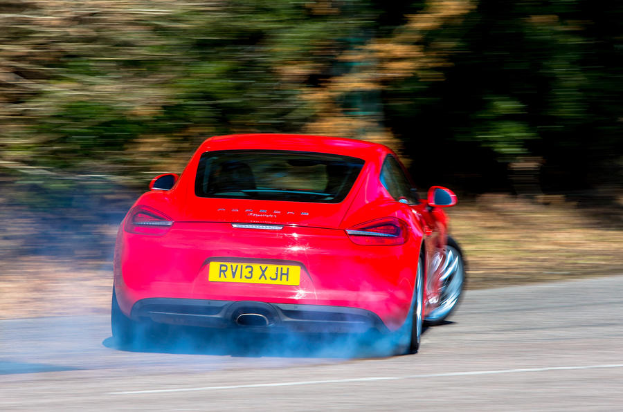 Porsche Cayman hard rear cornering
