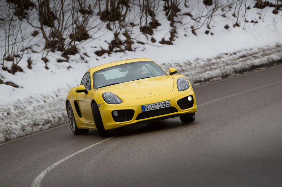 Porsche Cayman S getting sideways