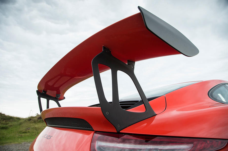 The Porsche 911 GT3 RS's carbonfibre wing is adjustable through three positions, accounting for 220kg of downforce