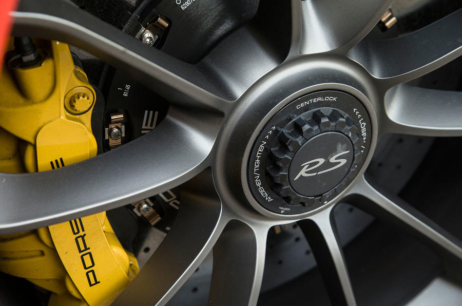 Yellow brake calipers are ceramic as standard on the Porsche 911 GT3 RS