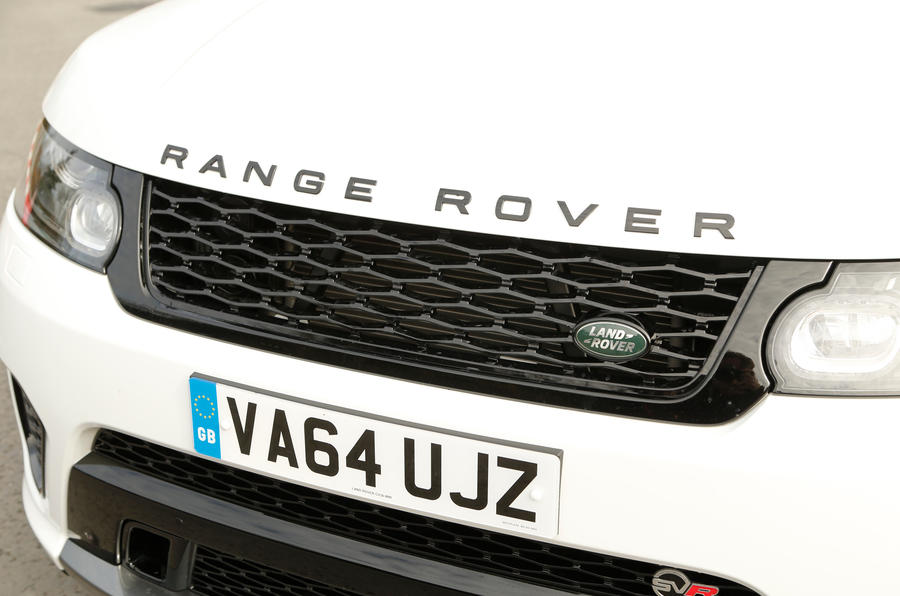 The Range Rover Sport SVR still sports the green Land Rover badge on the front