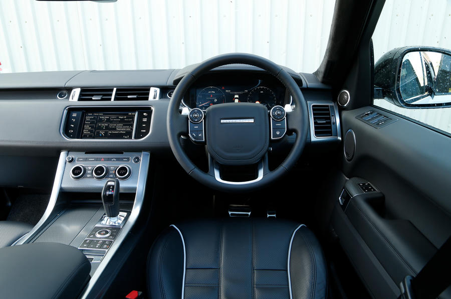 Inside the Land Rover Range Rover Sport SVR's cabin from the driver's seat