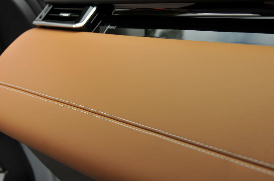 Range Rover Velar leather stitched dashboard
