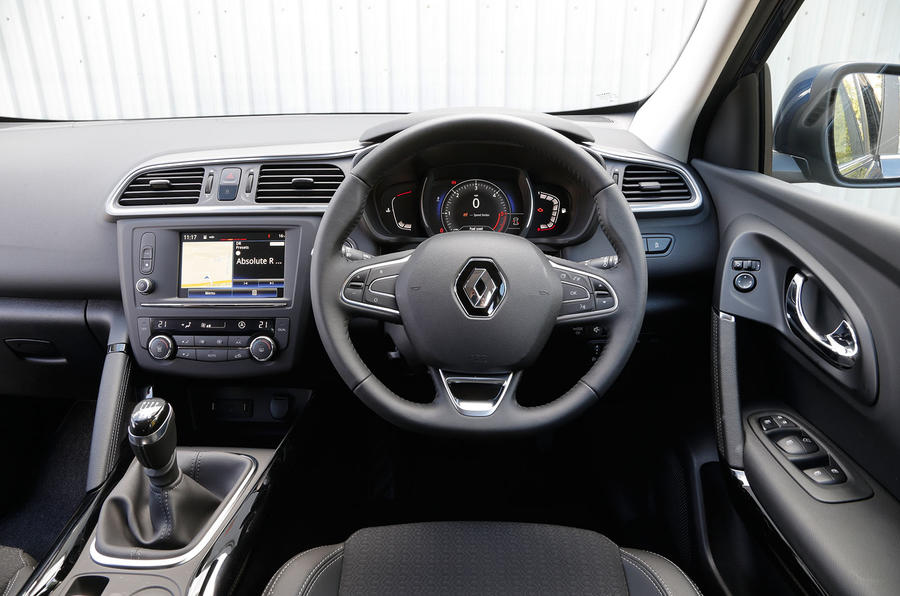 The driver's seat view from within the Renault Kadjar