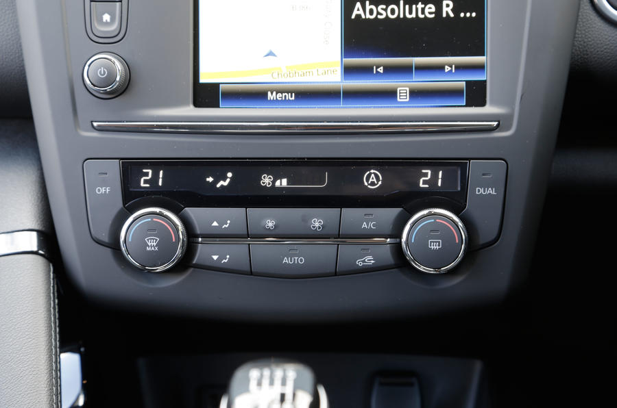 The climate control switchgear in the Renault Kadjar