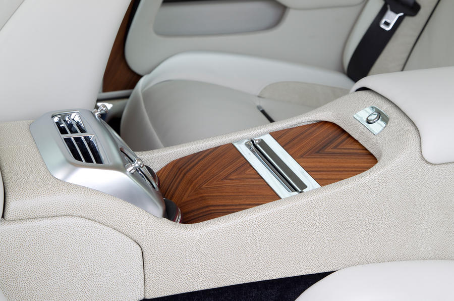 The transmission tunnel rear passenger console in the Rolls-Royce Wraith